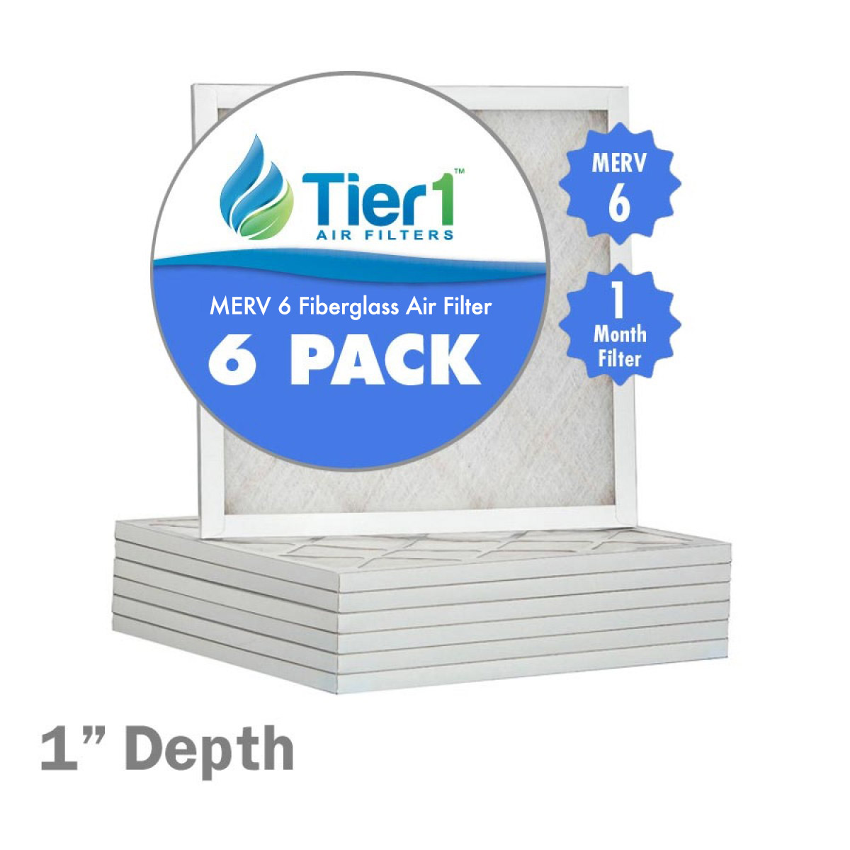 Tier1 14x20x1 MERV 6 Fiberglass Air Filter (6-Pack) PartNumber: SPM8012055902