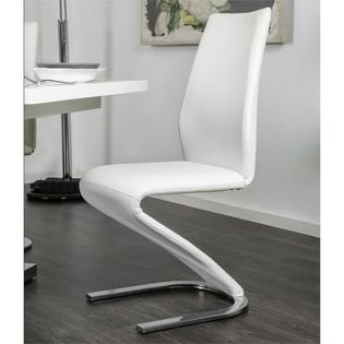 Furniture Of America Novas Contemporary Faux Leather Z Shaped Dining Chair Set White 2