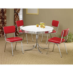 Coaster Cleveland 5 PC Dining Room Set With Chrome And White Round Table 4