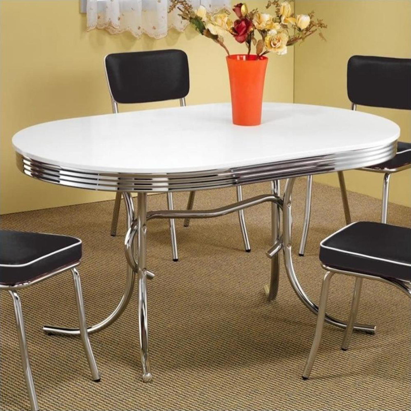retro dining table chrome metal 50s kitchen dinette