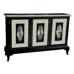 Sofaweb Glossy Black Finish Credenza With White And Tan Accents