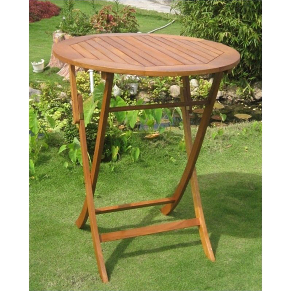 International Caravan Royal Tahiti Outdoor 36in Bar Height Round Folding  Table Brown Stain TT RT