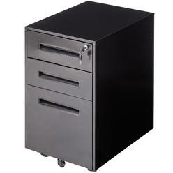 Goplus Rolling A4 File Cabinet Sliding Drawer Metal Office Organizer Storage Black