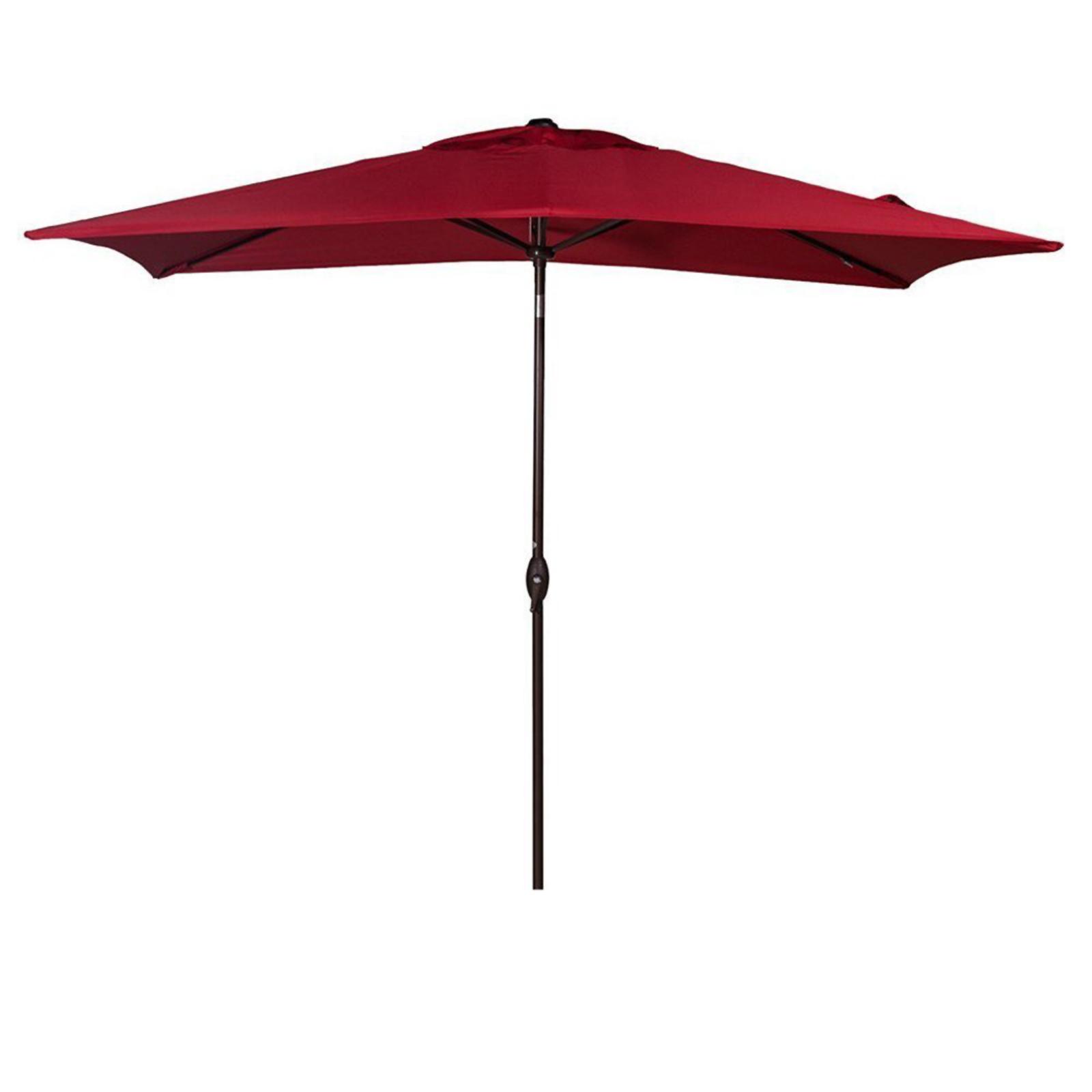Abba Patio Rectangular Patio Umbrella 6.6 by 9.8-Feet Aluminum Patio Market Outdoor Table Umbrella with Push Button Tilt and Crank, Red PartNumber: SPM4010765521