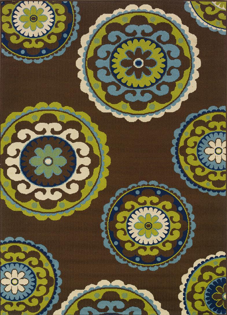 Oriental Weavers Caspian Brown Green Indoor Outdoor Area Rug 3