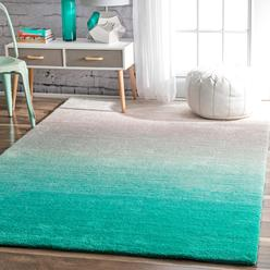Nuloom Rugs Usa Handmade Soft And Plush Ombre Turquoise Area 4 Feet By