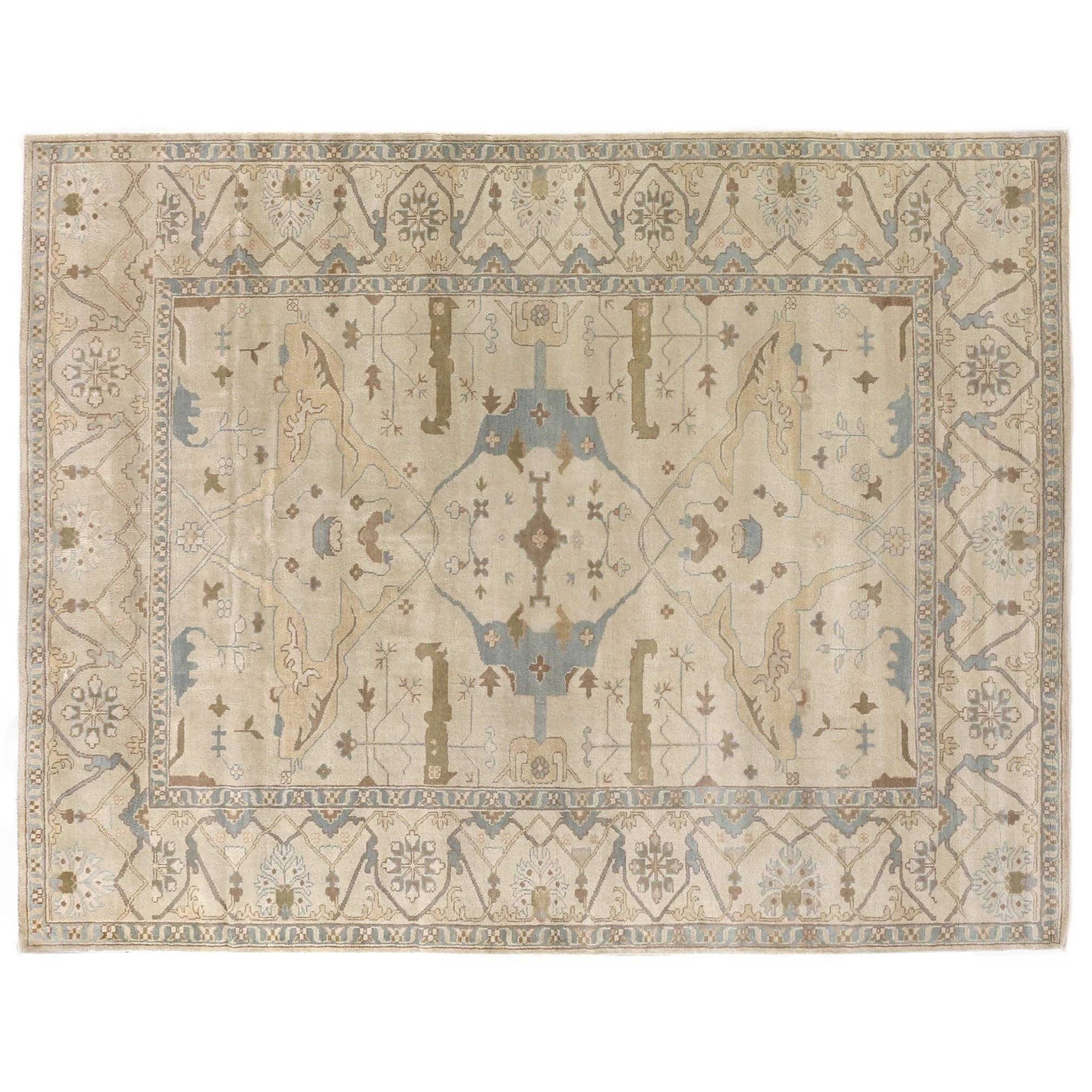 Exquisite Rugs Turkish Oushak Ivory Zealand Wool Rug 9 X 12
