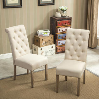 Roundhill Furniture Tufted Parsons Dining Chair Set Sears Marketplace