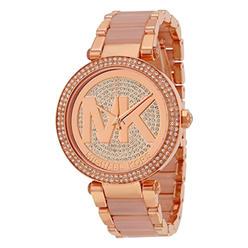 0ff521b63d64 Michael Kors New Michael Kors MK6176 Parker Rose Gold Blush Pave Crystal  Logo Ladies Watch