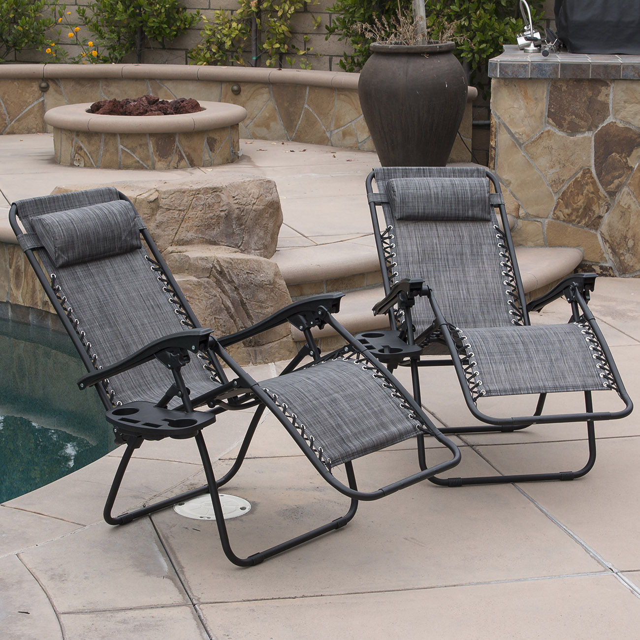BELLEZE | Zero Anti Gravity Reclining Gray Chairs | Set of 2 | Tray | Cup Holder | Mobile Device Slot Holder | Outdoor PartNumber: SPM9196898317