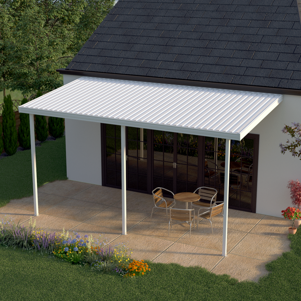 Image of Heritage Patios 16 ft. x 8 ft. White Aluminum Attached Patio Cover (3 Posts / 20 lb. Live Load)