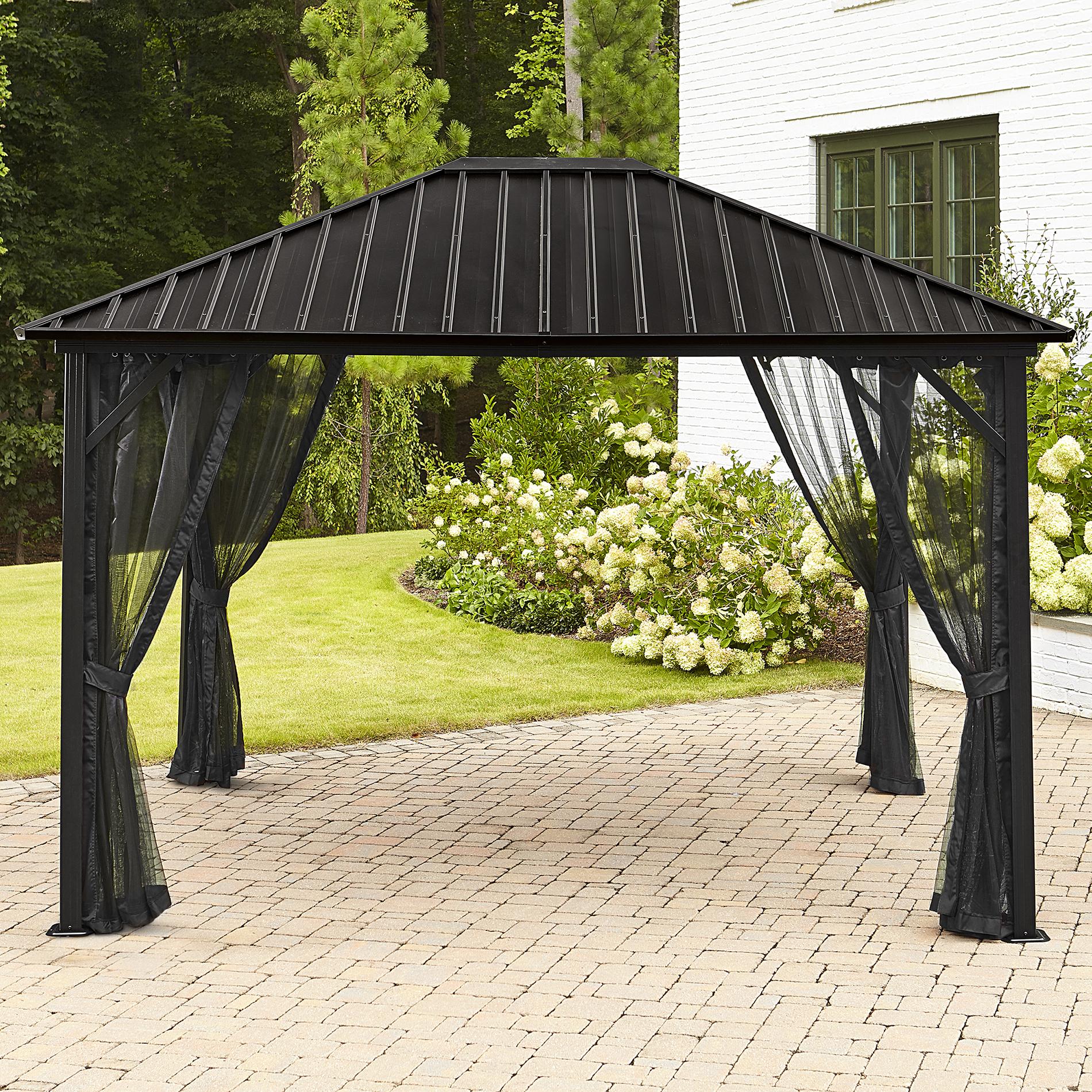 Image of Grand Resort Lake Geneva Steel Hardtop Gazebo - Set Up Your Own Cocoon, Black