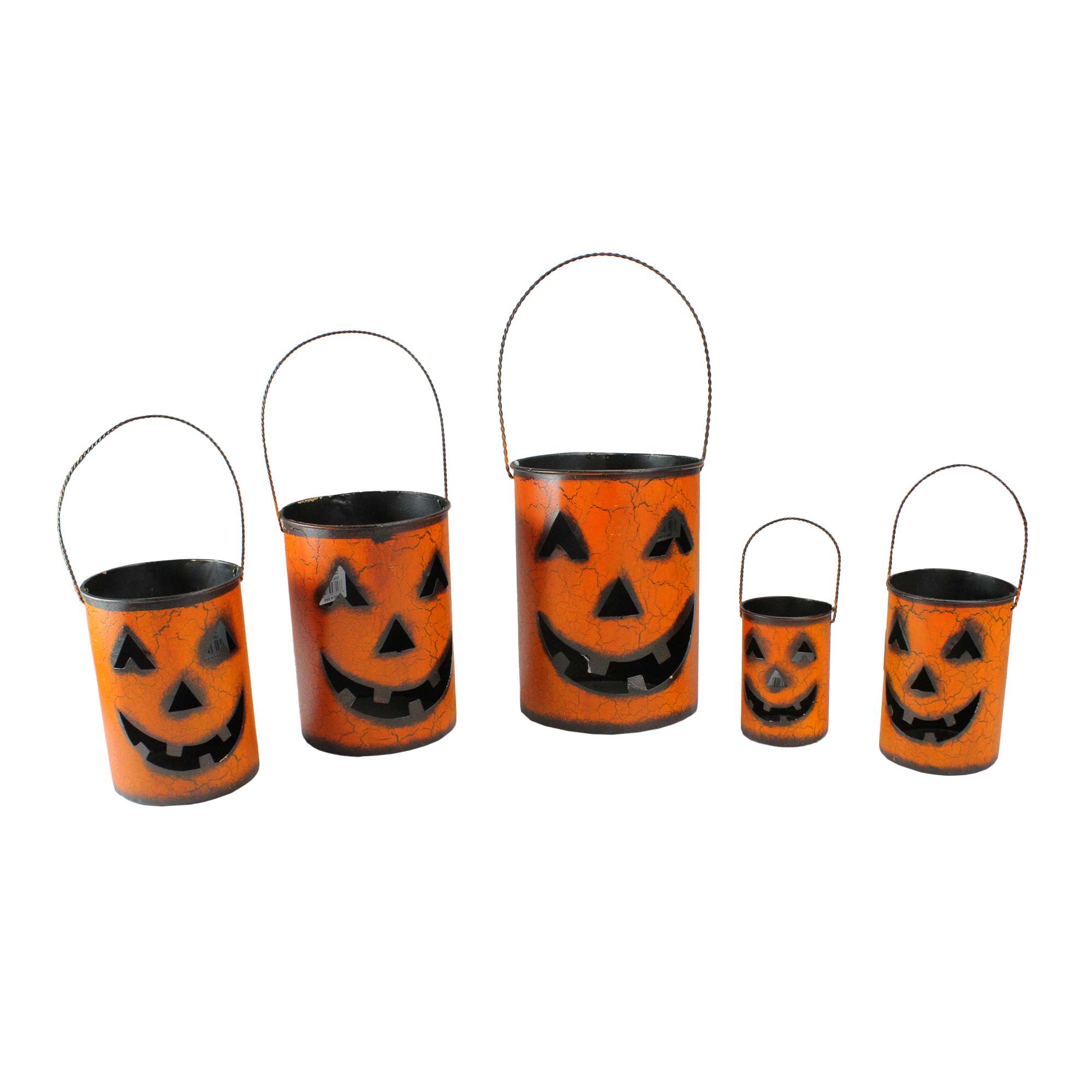 "Image of ""Gerson Set of 5 Orange and Black Jack-O-Lantern Pumpkin Halloween Container 8"""""""