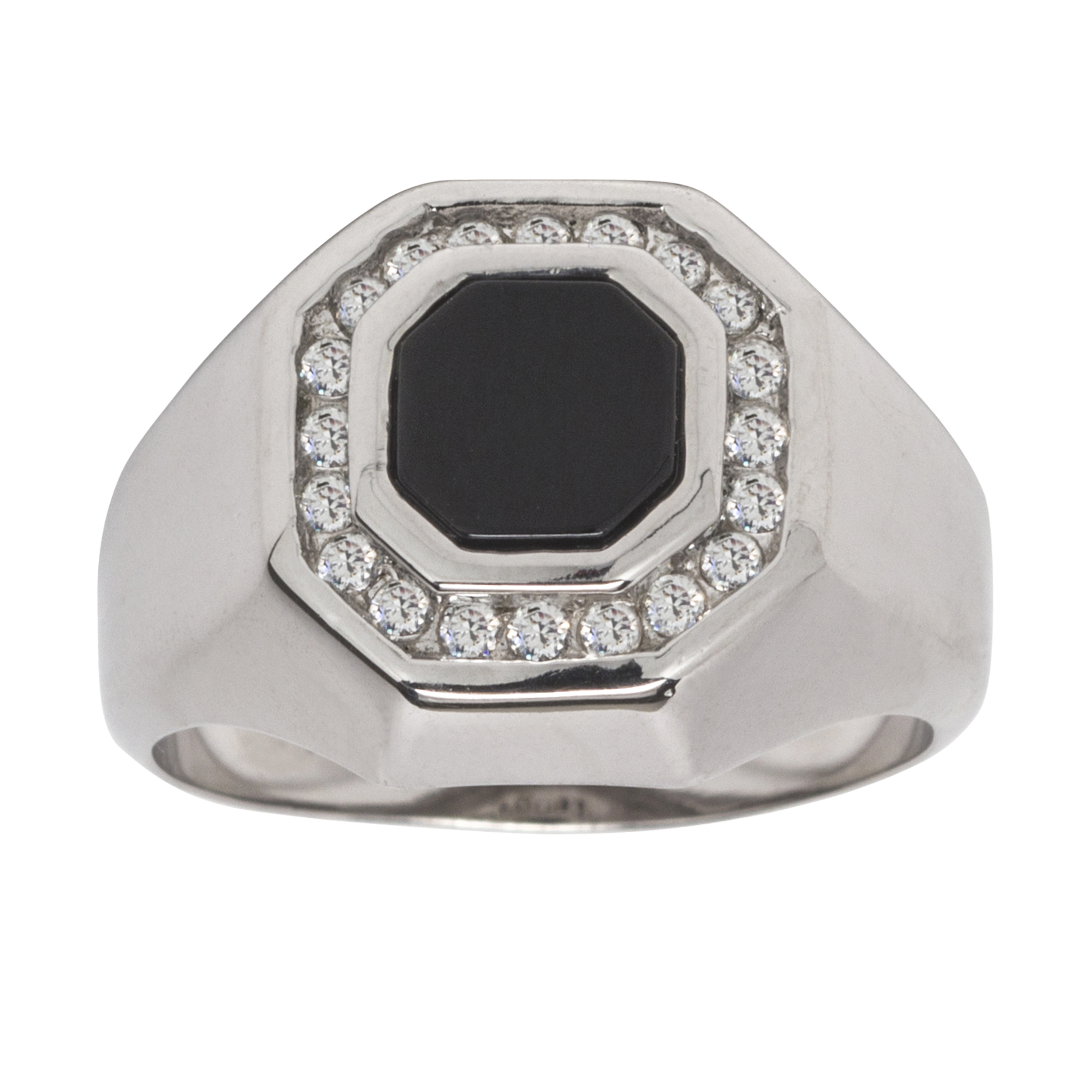 Sterling Silver Onyx and CZ Mens Ring