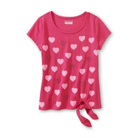Basic Editions Girl's Spangled Tie-Front T-Shirt - Heart at Kmart.com