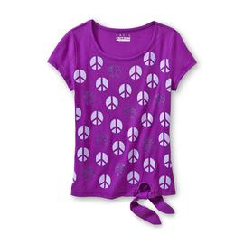 Basic Editions Girl's Spangled Tie-Front T-Shirt - Peace Symbol at Kmart.com