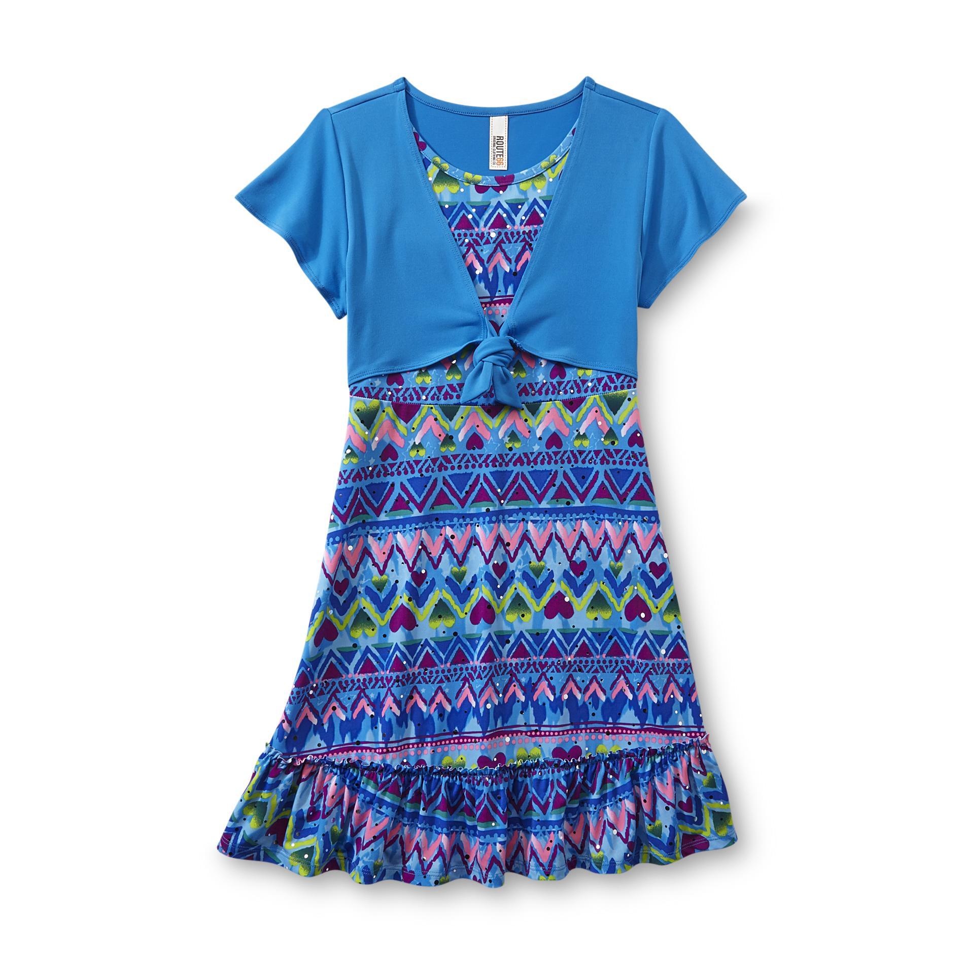 Route 66 Girl's Ruffled Dress - Geometric