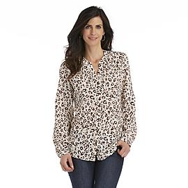 Laura Scott Women's Crepon Blouse - Leopard Print at Sears.com