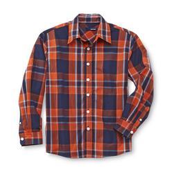 Basic Editions Boy's Long-Sleeve Poplin Shirt - Plaid at Kmart.com