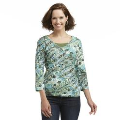 Basic Editions Women's Layered-Look Embellished Top - Abstract at Kmart.com