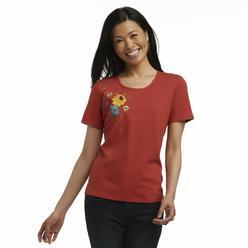 Basic Editions Women's Embellished T-Shirt - Floral at Kmart.com