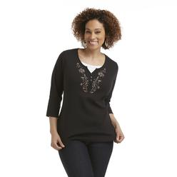 Basic Editions Women's Plus Embroidered Layered-Look Henley Top at Kmart.com