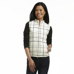Basic Editions Women's Corduroy Vest - Plaid at Kmart.com