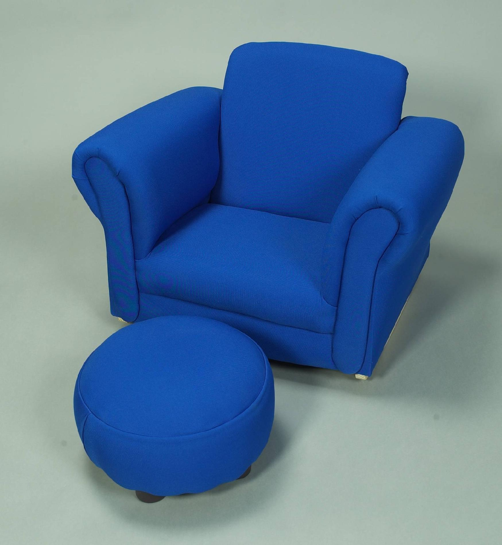 Gift Mark Child's Upholstered Rocker w/Ottoman (Blue)
