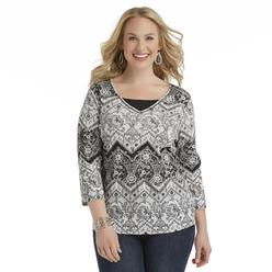 Basic Editions Women's Plus Printed Knit Top - Floral at Kmart.com