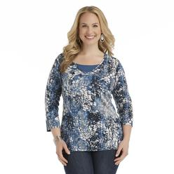 Basic Editions Women's Plus Printed Knit Top - Animal Print at Kmart.com