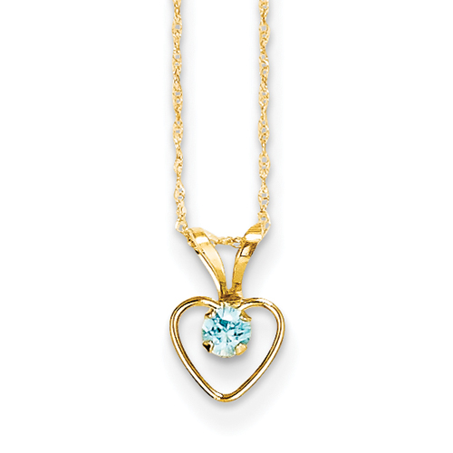 14k 3mm Blue Zircon Heart Birthstone Child Pendant - 15 Inch - Measures 10x6mm