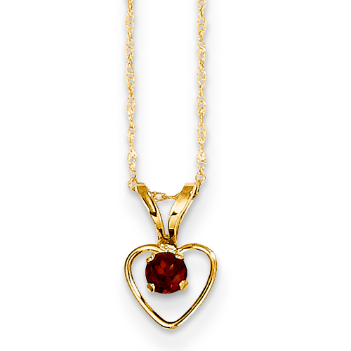 14k 3MM Garnet Heart Birthstone Pendant Child Chain 15 Inch - Measures 10x6mm