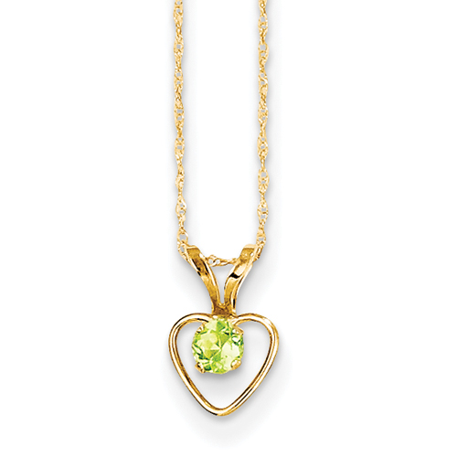 14kt 3MM Peridot Heart Birthstone Pendant Child Chain 15 Inch - Measures 10x6mm