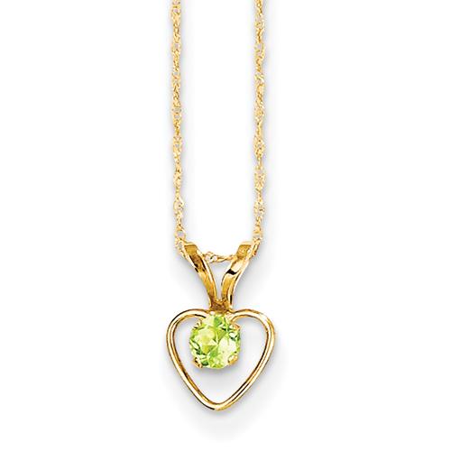 14kt 3MM Peridot Heart Birthstone Pendant Child Chain 15 Inch - Measures 10x6mm