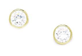 14k Yellow Gold April Birthstone Clear 5mm CZ Bezel Set Screwback Earrings - Measures 6x6mm