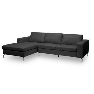 Baxton Studio Lazenby Black Leather Modern Sectional Sofa