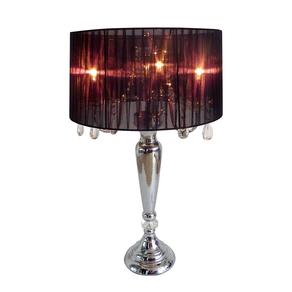 Elegant Designs Trendy Sheer Black Shade Table Lamp with  Hanging Crystals PartNumber: 02437969000P KsnValue: 6552795 MfgPartNumber: LT1034-BLK