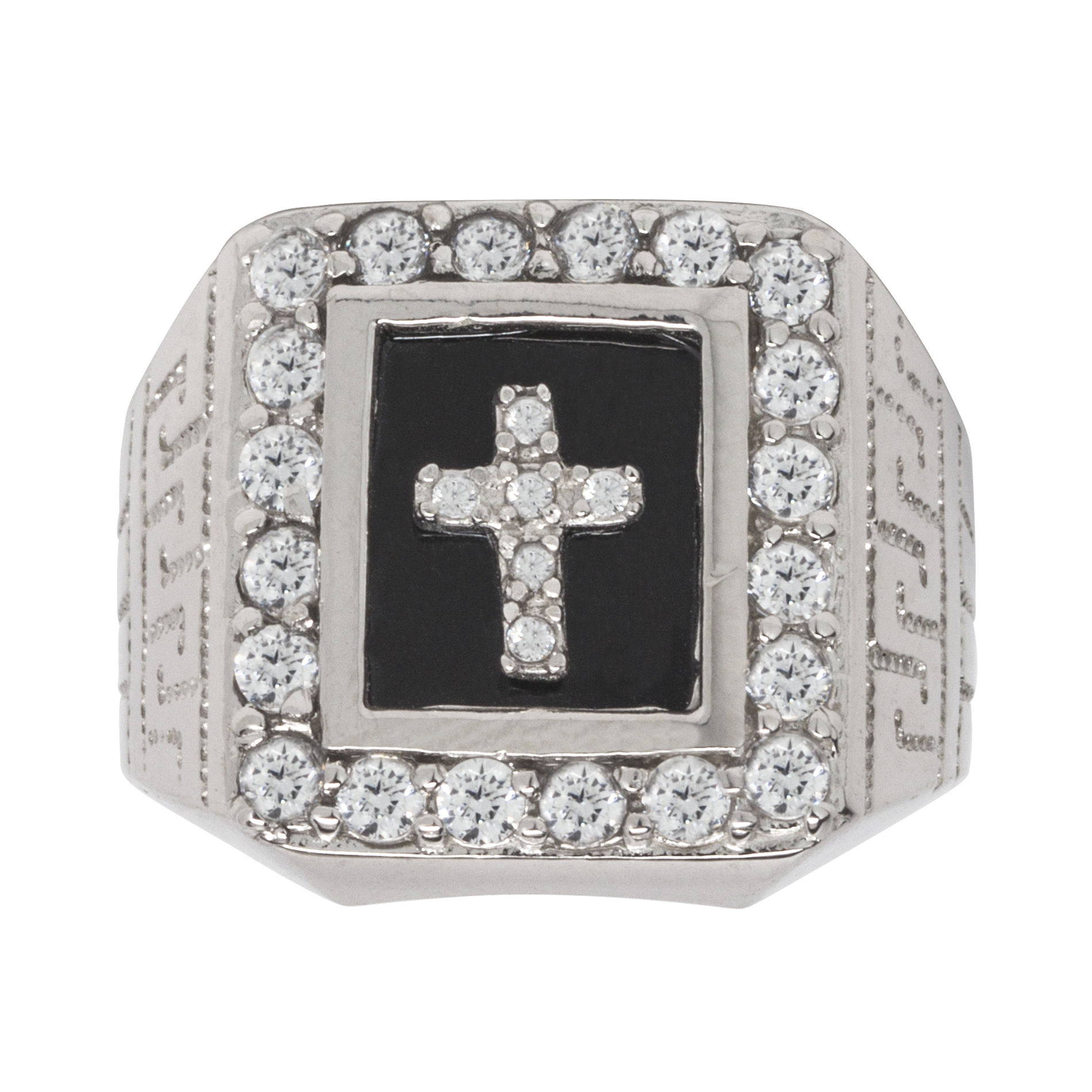 Sterling Silver Onyx and CZ Cross Mens Ring