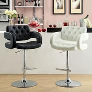 Pasteena Adjustable Button Tufted Leatherette Swivel Bar Stool at Sears.com