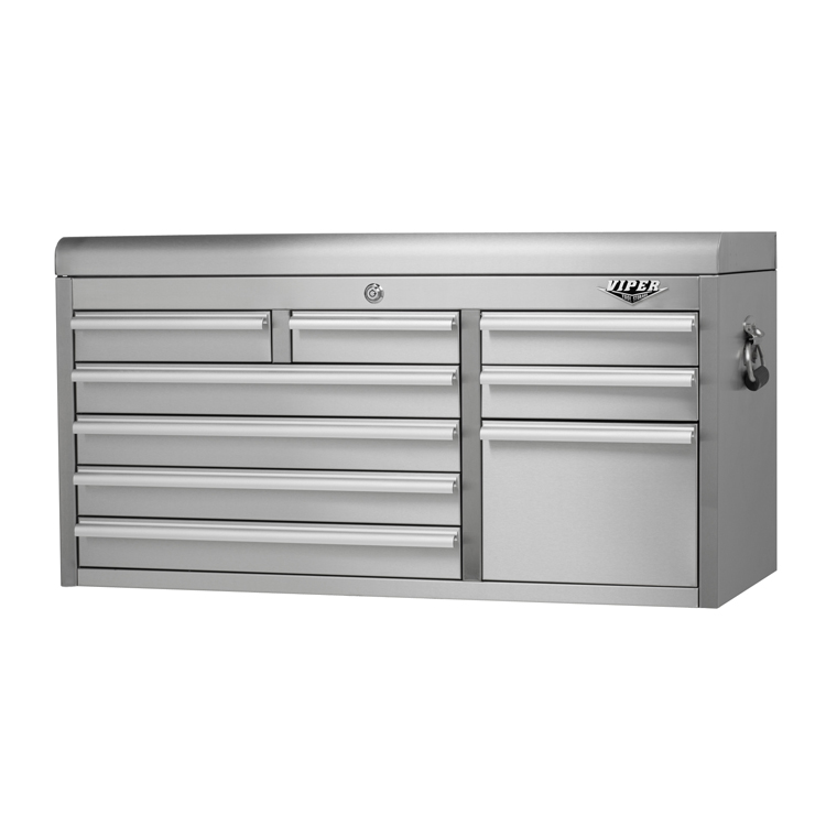 Viper Tool Storage 41-inch 9 Drawer 304 Stainless Steel Top Chest PartNumber: 00980674000P KsnValue: 1009908 MfgPartNumber: V4109SSC