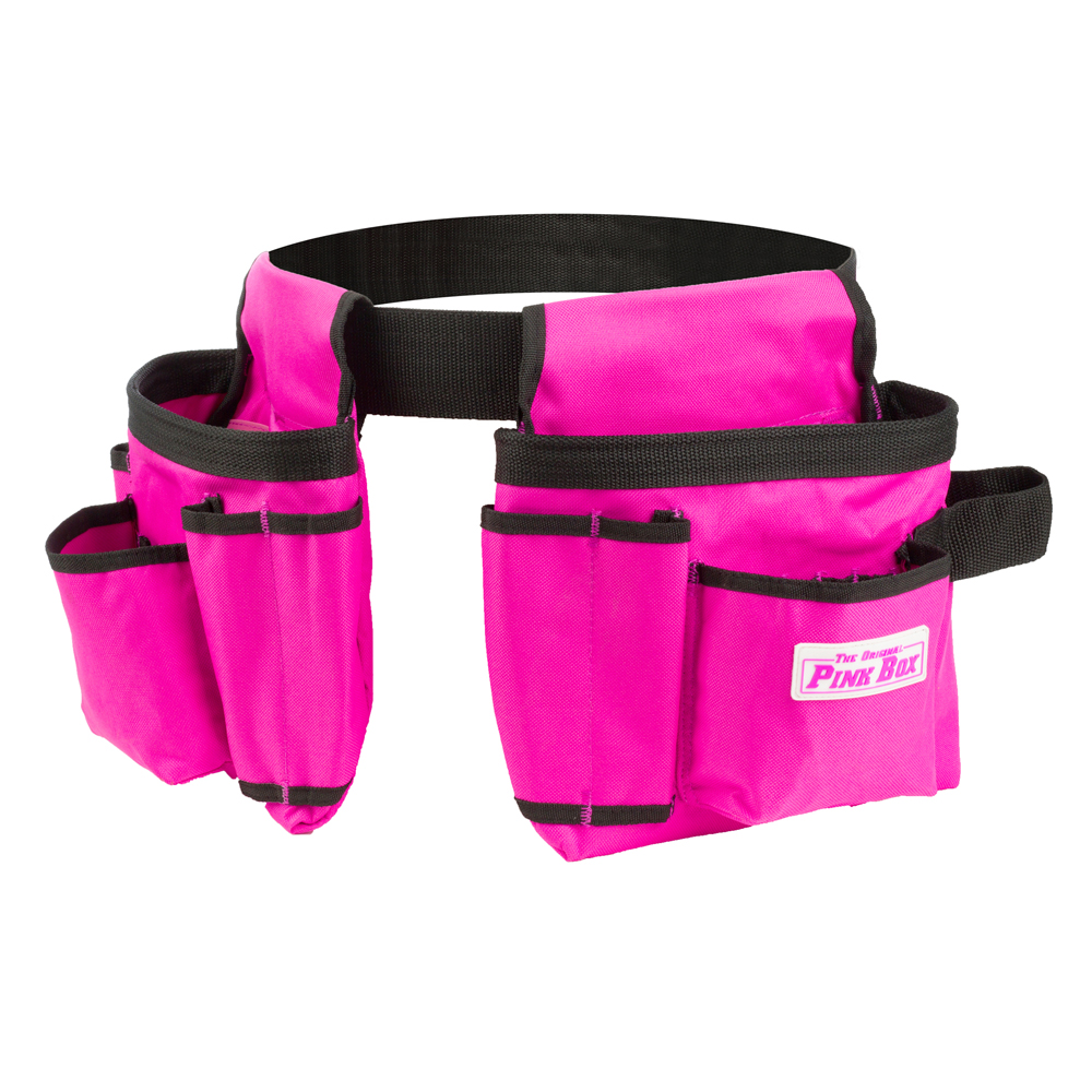 The Original Pink Box PINK 2-Pouch Canvas Pink Tool Belt