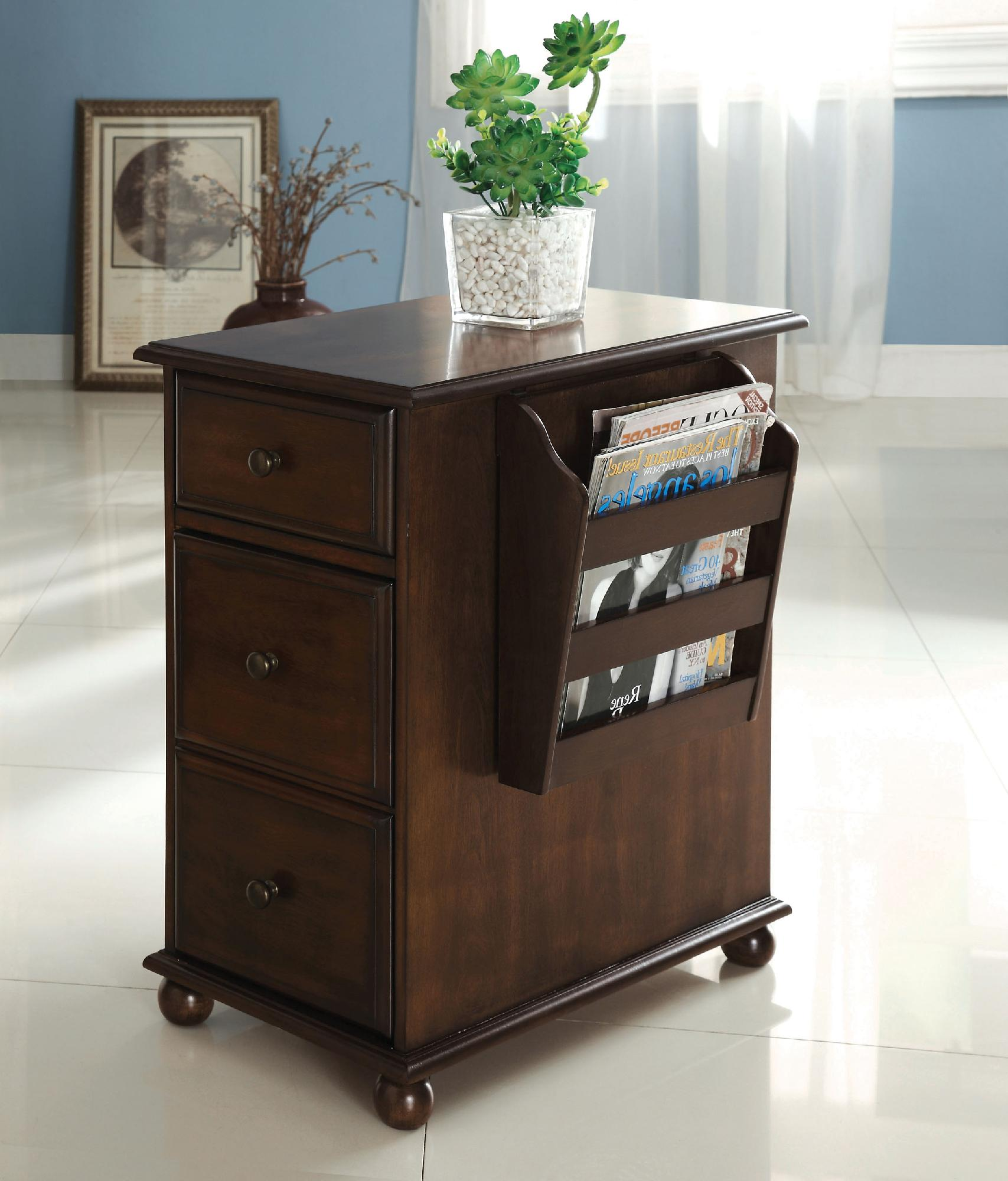 Furniture of america zenners dark walnut side table with for Living room end tables with drawers