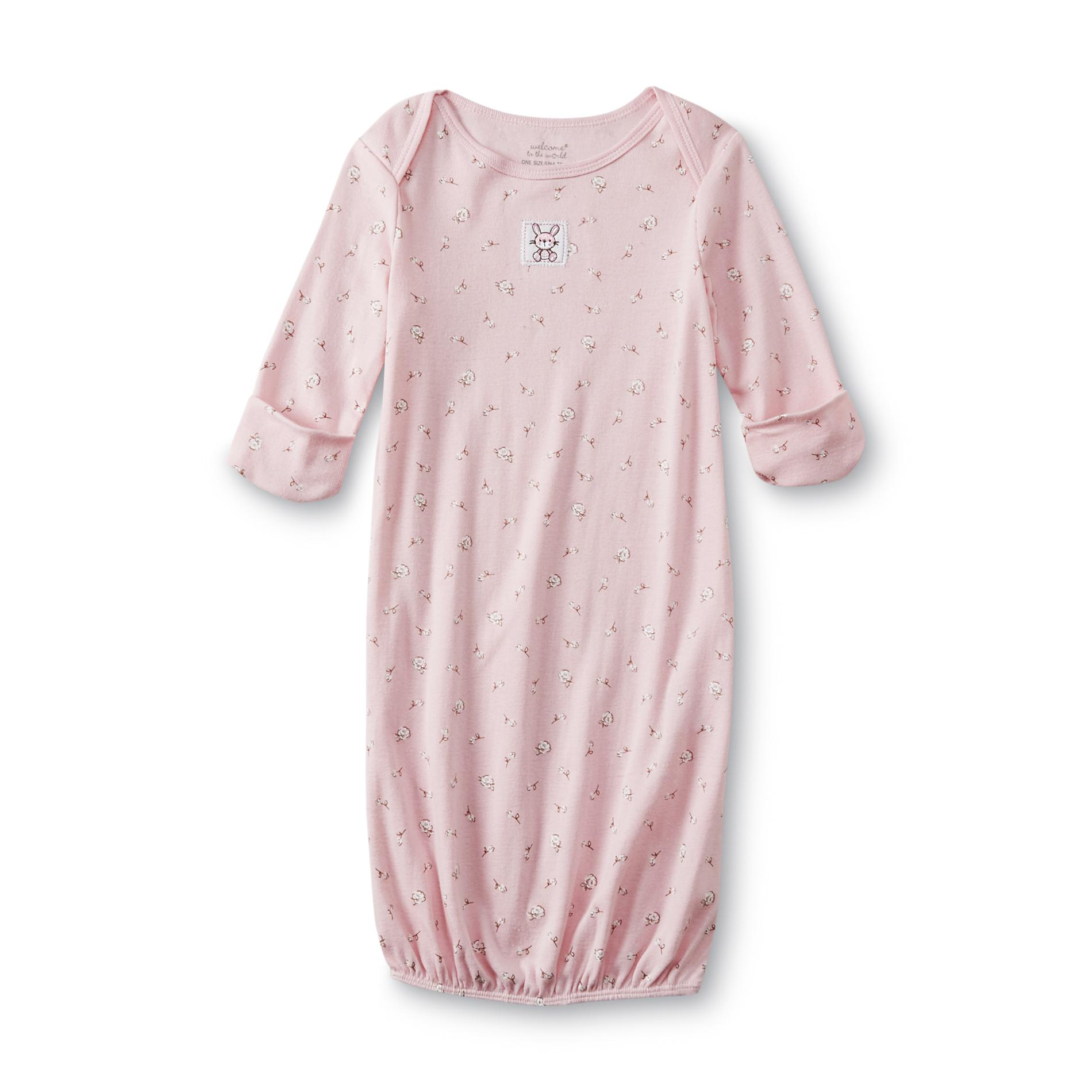 Welcome to the World Infant Girl\'s Knit Sleep Gown - Bunny