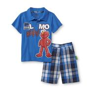 Sesame Street Elmo Toddler Boy's Polo Shirt & Shorts - Plaid at Kmart.com
