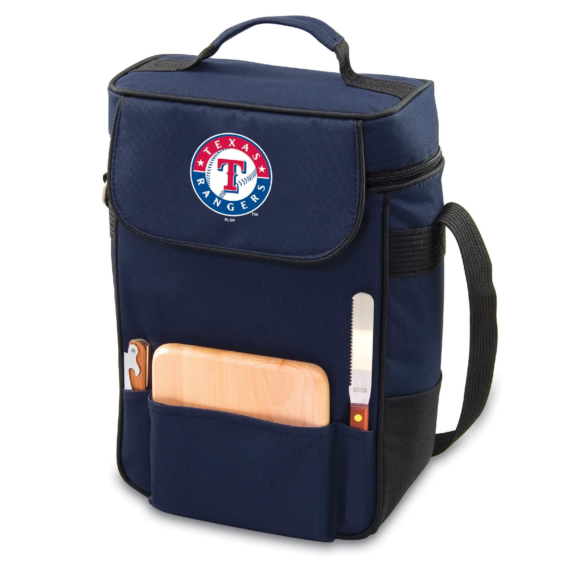 Image of Picnic Time Texas Rangers Duet Wine & Cheese Tote, wine