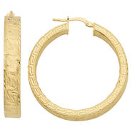 Romanza Gold Over Bronze Diamond Cut Greek Key Hoop Earring at Sears.com