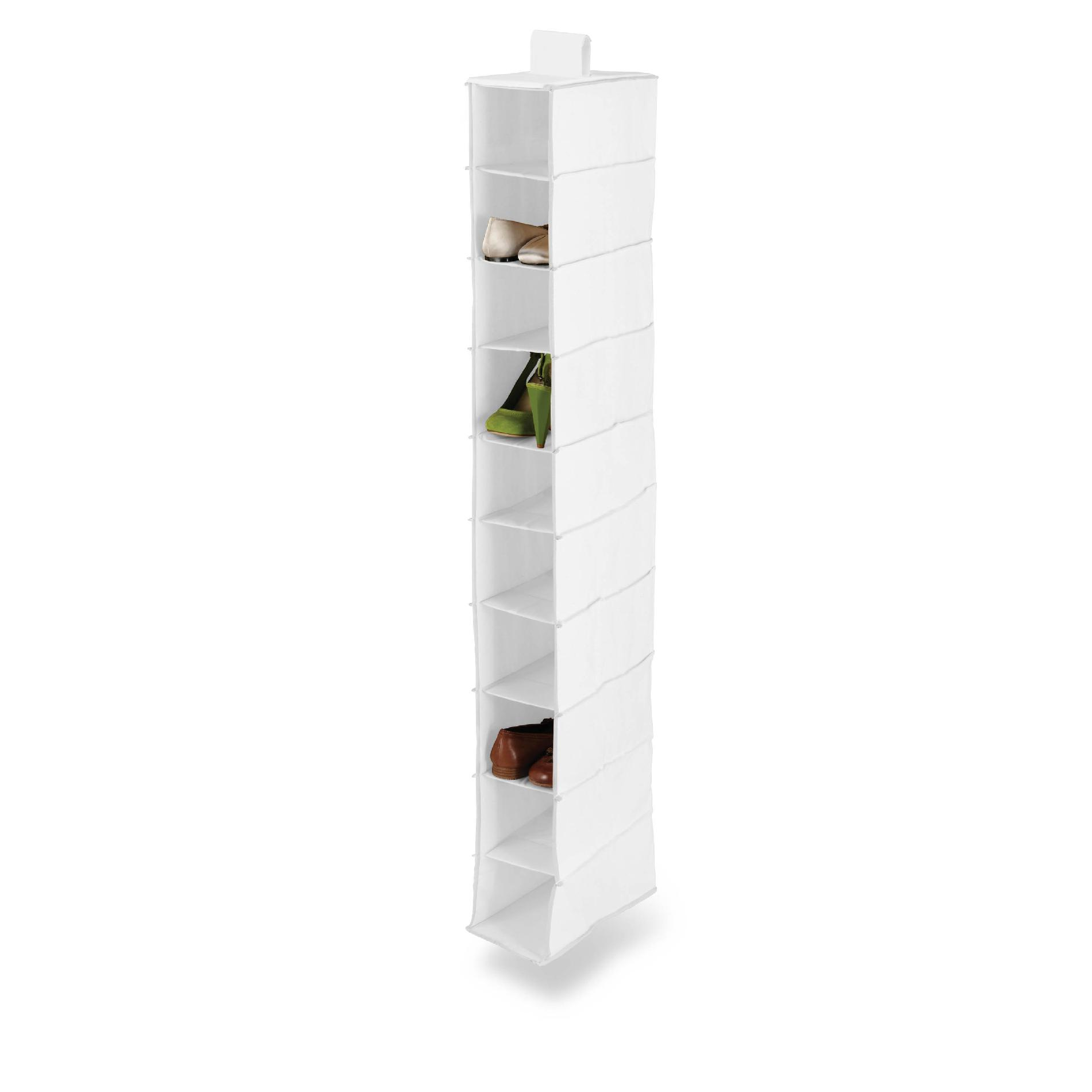 Honey Can Do 10 shelf Hanging Shoe organizer, polyester, white