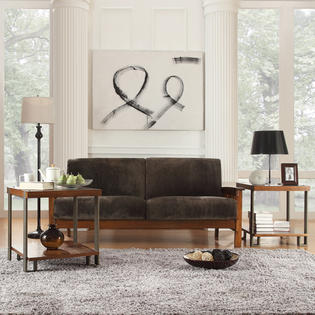 Oxford Creek Marlin Mission-Inspired Sofa in Dark Brown Microfiber
