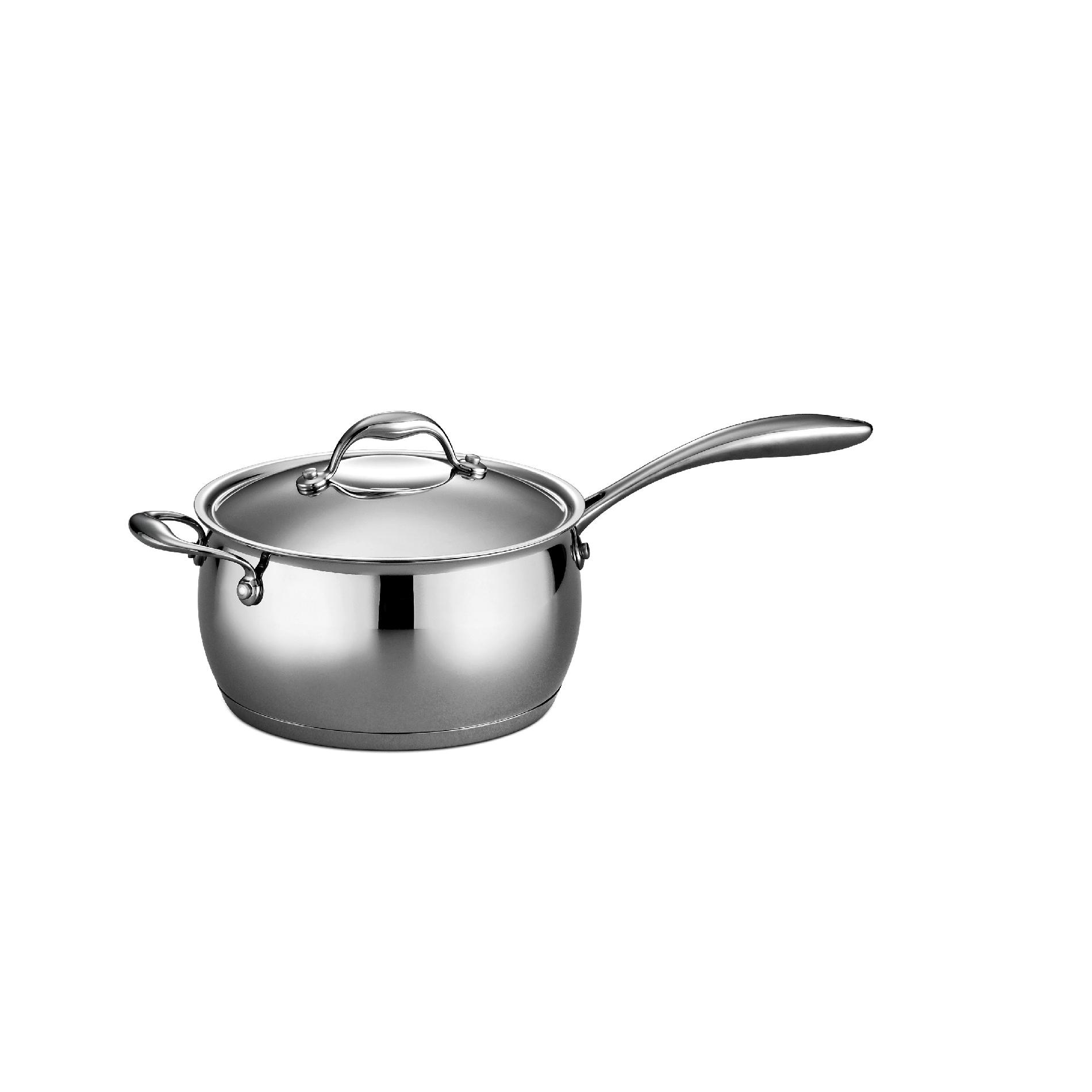 Tramontina Gourmet - Domus 18/10 Stainless Steel 4 Qt Covered Sauce Pan with Helper Handle PartNumber: 00811167000P KsnValue: 8578374 MfgPartNumber: 80102/006DS
