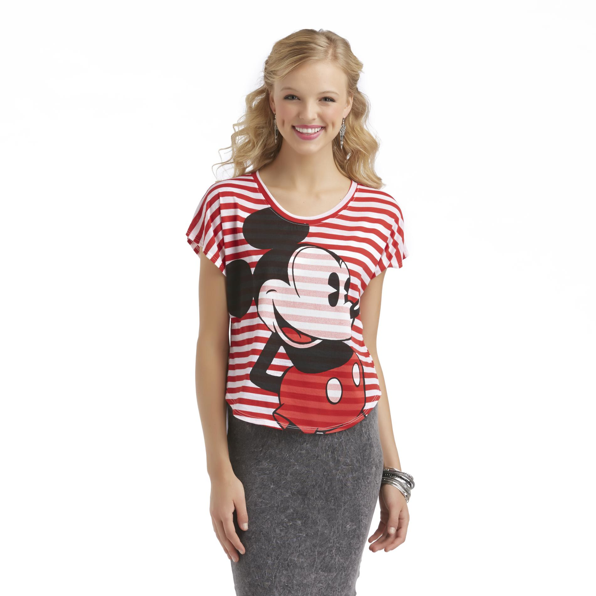 Junior's Mickey Mouse T-Shirt - Striped